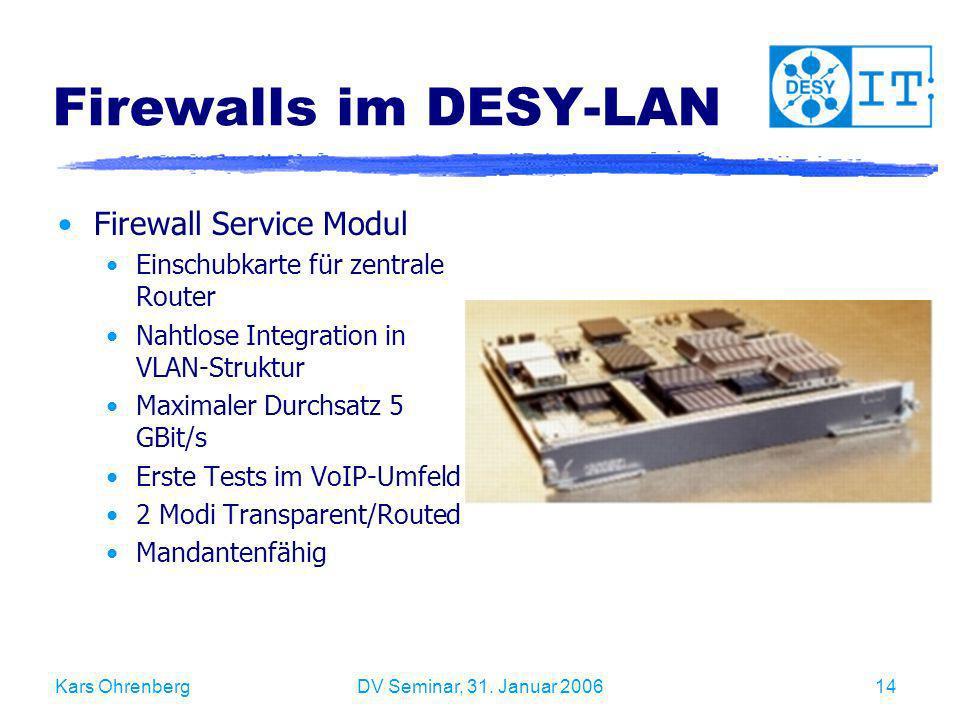 Firewalls im DESY-LAN Firewall Service Modul