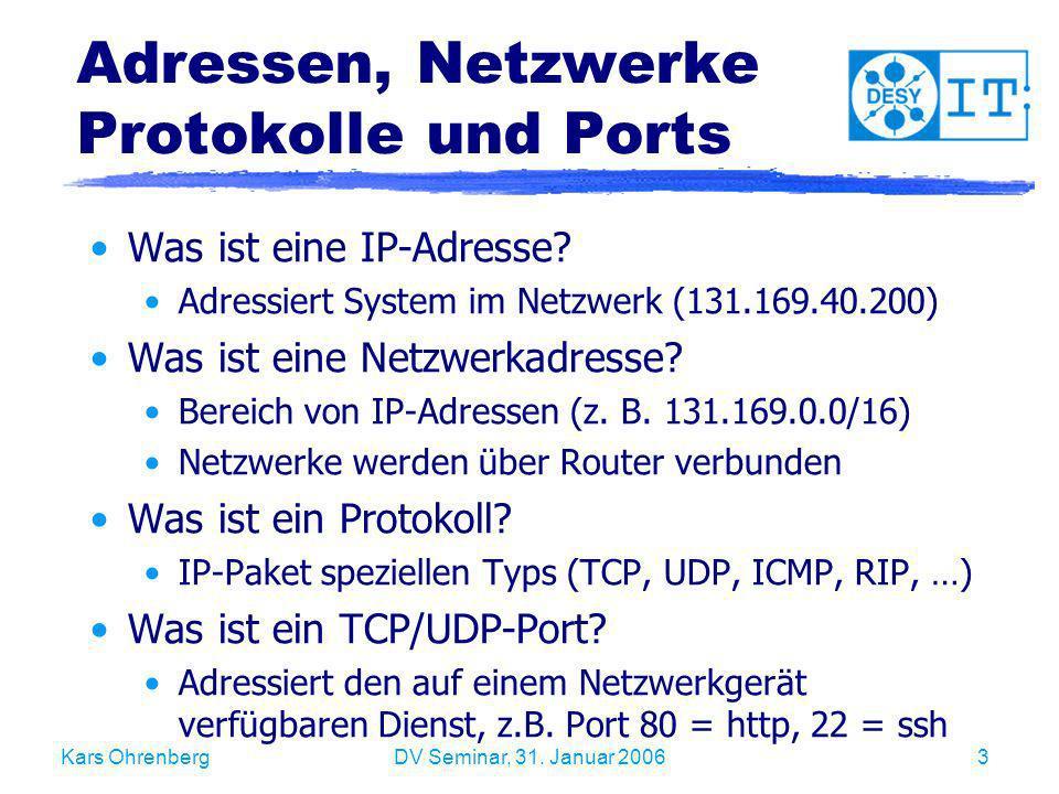 Adressen, Netzwerke Protokolle und Ports