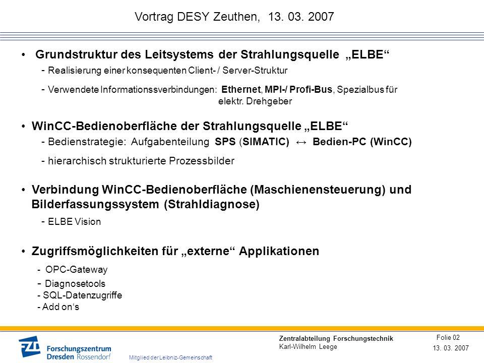 """Grundstruktur des Leitsystems der Strahlungsquelle """"ELBE"""