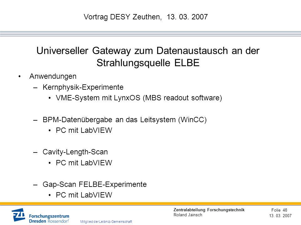 Universeller Gateway zum Datenaustausch an der Strahlungsquelle ELBE