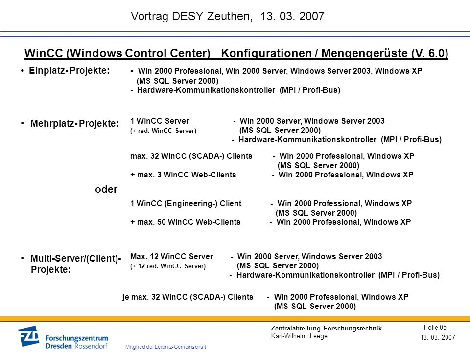 Vortrag DESY Zeuthen, 13. 03. 2007 WinCC (Windows Control Center) Konfigurationen / Mengengerüste (V. 6.0)