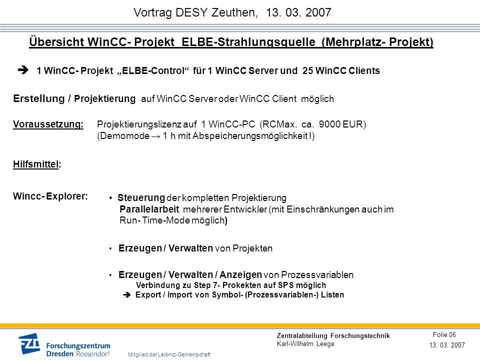 Übersicht WinCC- Projekt ELBE-Strahlungsquelle (Mehrplatz- Projekt)