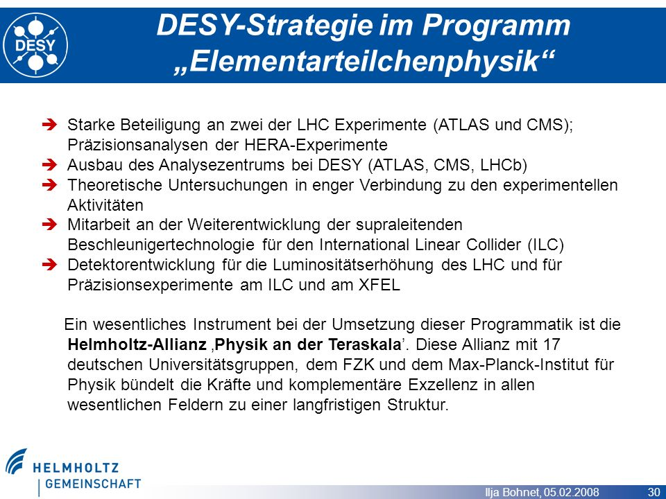 "DESY-Strategie im Programm ""Elementarteilchenphysik"