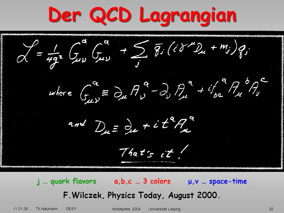 Der QCD Lagrangian F.Wilczek, Physics Today, August 2000.