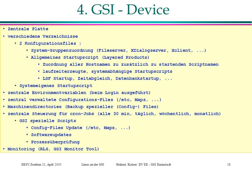Linux an der GSI Helmut Kreiser DV/EE - GSI Darmstadt