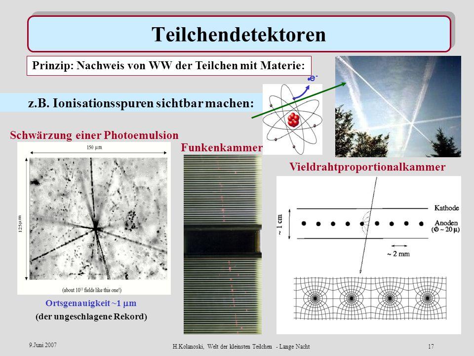 Teilchendetektoren z.B. Ionisationsspuren sichtbar machen: