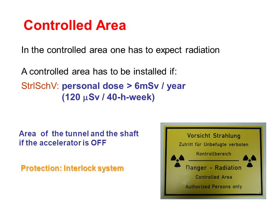 Controlled Area In the controlled area one has to expect radiation