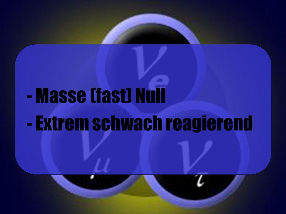 Masse (fast) Null Extrem schwach reagierend