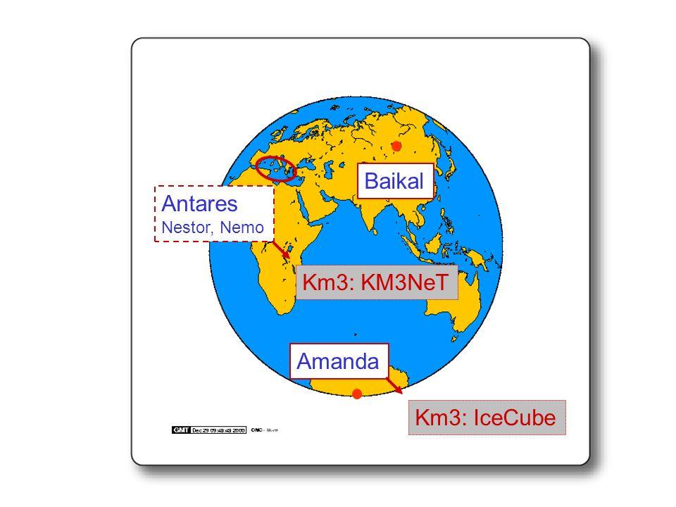 Baikal Antares Nestor, Nemo Km3: KM3NeT Amanda Km3: IceCube