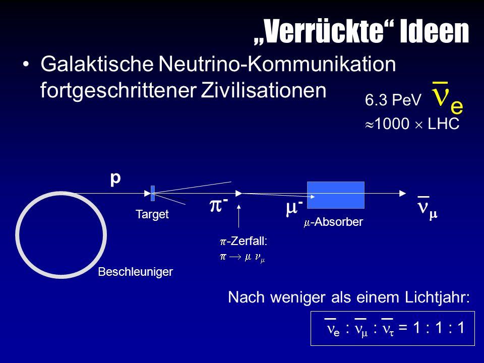 """Verrückte Ideen Galaktische Neutrino-Kommunikation fortgeschrittener Zivilisationen. 6.3 PeV e."