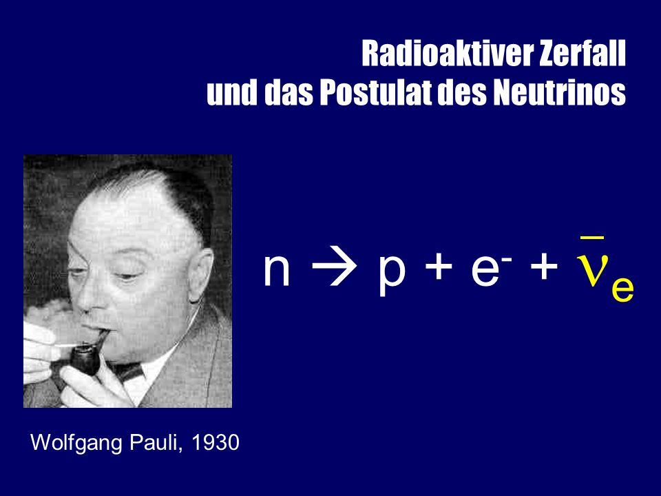 n  p + e- + e Das Postulat des Neutrinos: Pauli, 1930