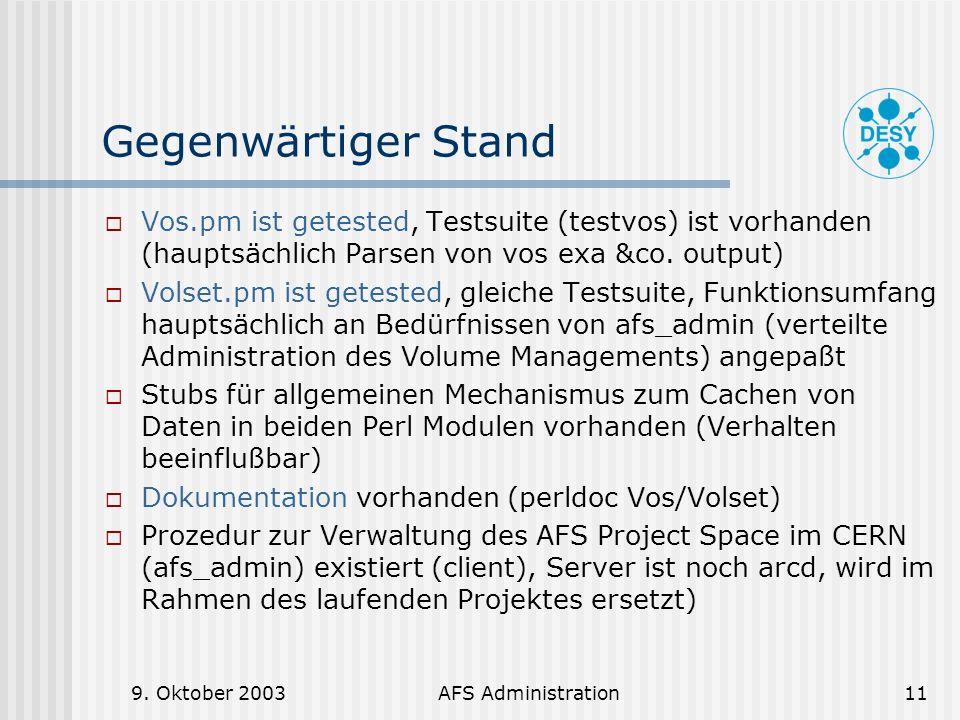 Gegenwärtiger Stand Vos.pm ist getested, Testsuite (testvos) ist vorhanden (hauptsächlich Parsen von vos exa &co. output)