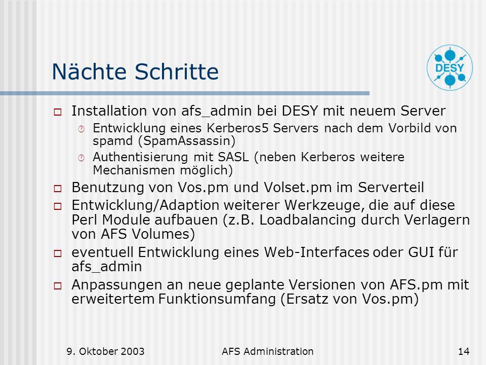 Nächte Schritte Installation von afs_admin bei DESY mit neuem Server
