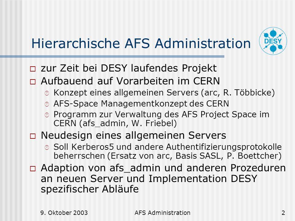 Hierarchische AFS Administration