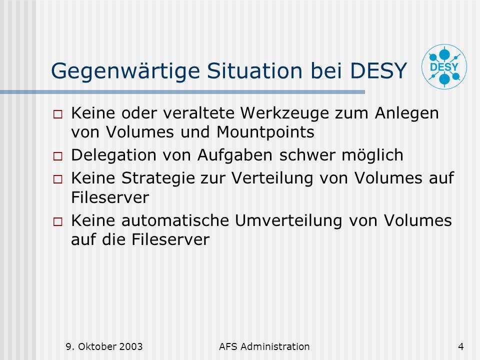Gegenwärtige Situation bei DESY