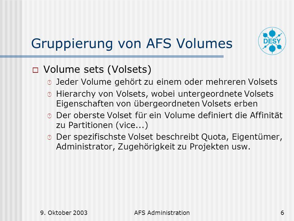 Gruppierung von AFS Volumes
