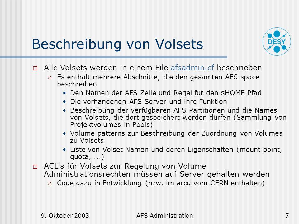 Beschreibung von Volsets