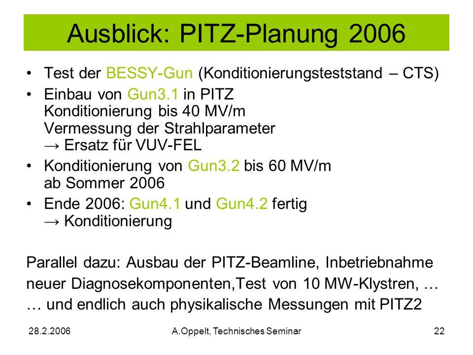 Ausblick: PITZ-Planung 2006