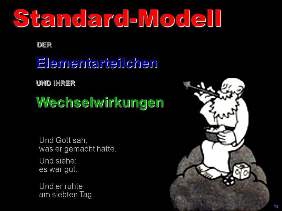 Standard-Modell Elementarteilchen Wechselwirkungen Und Gott sah,