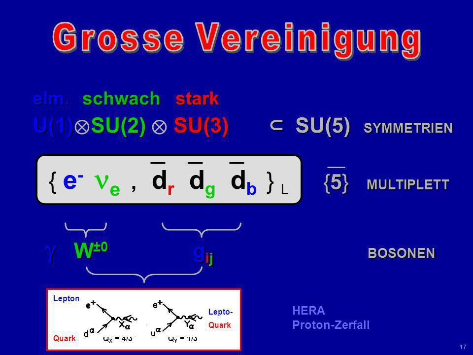 { e- ne ,`dr`dg`db } L U(1)⊗SU(2) ⊗ SU(3) ⊂ SU(5) SYMMETRIEN
