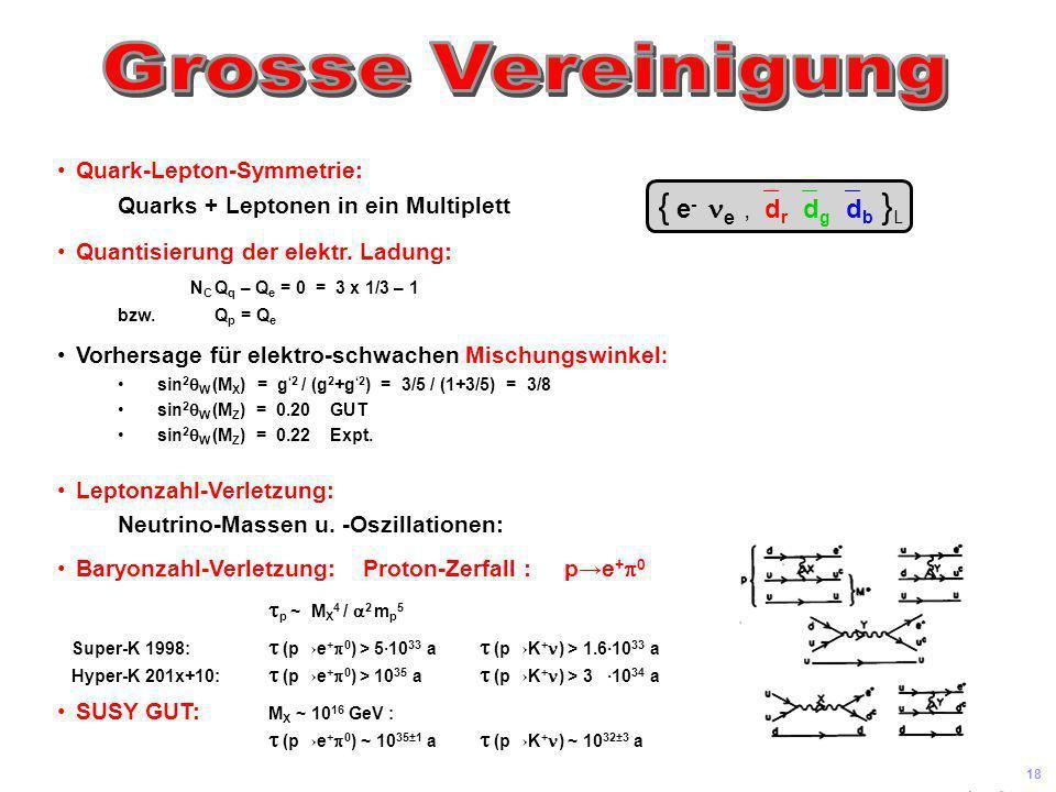{ e- ne ,`dr`dg`db }L Grosse Vereinigung Quark-Lepton-Symmetrie: