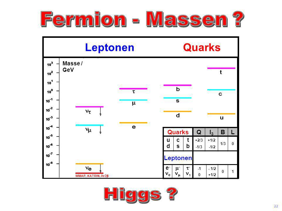 Fermion - Massen Higgs Leptonen Quarks Quarks Q I3 B L Leptonen