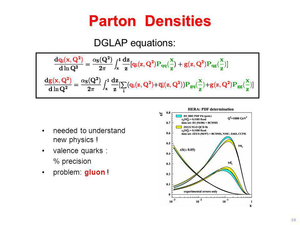 Parton Densities DGLAP equations: needed to understand new physics !
