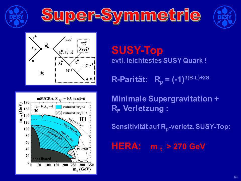 SUSY-Top HERA: m`t > 270 GeV R-Parität: Rp = (-1)3(B-L)+2S
