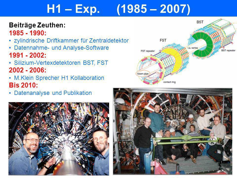 H1 – Exp. (1985 – 2007) Beiträge Zeuthen: 1985 - 1990: 1991 - 2002: