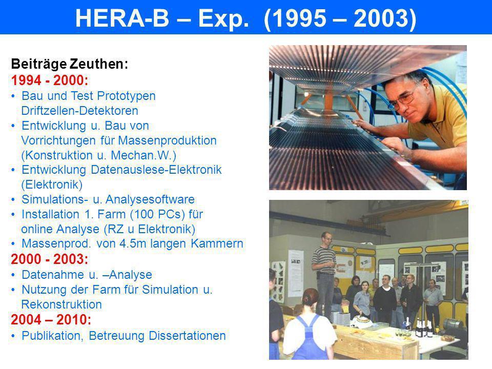 HERA-B – Exp. (1995 – 2003) Beiträge Zeuthen: 1994 - 2000: