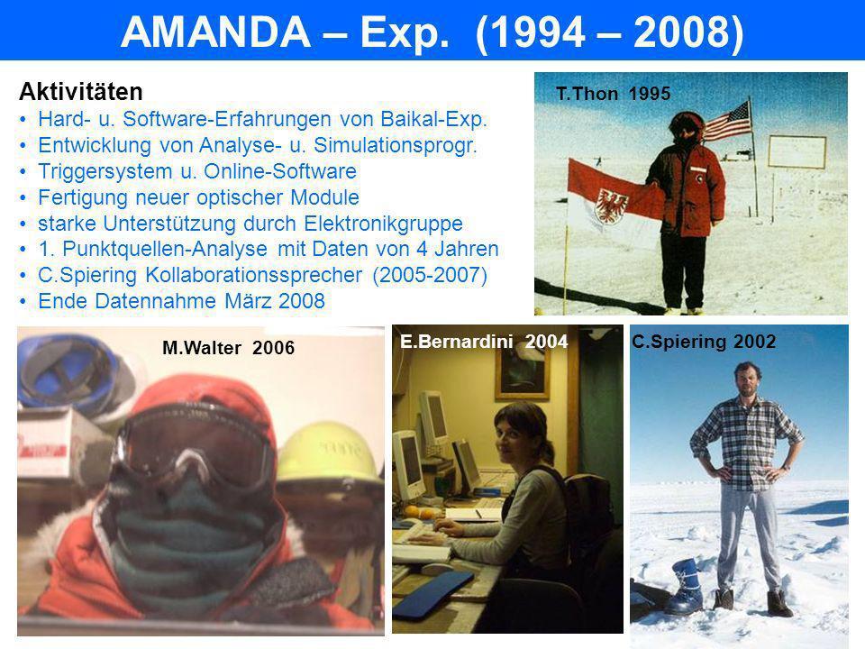 AMANDA – Exp. (1994 – 2008) Aktivitäten