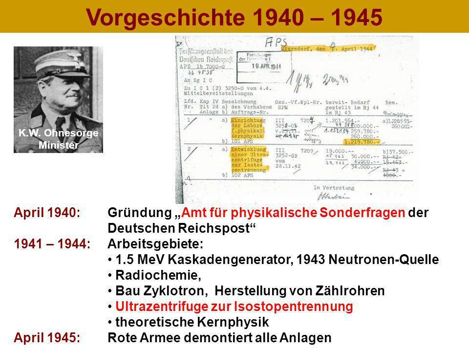 """Vorgeschichte 1940 – 1945 K.W. Ohnesorge. Minister. April 1940: Gründung """"Amt für physikalische Sonderfragen der."""