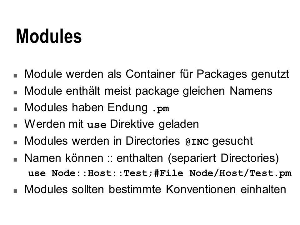 Modules Module werden als Container für Packages genutzt
