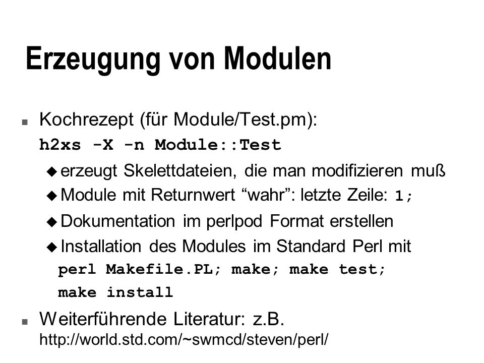 Erzeugung von Modulen Kochrezept (für Module/Test.pm):