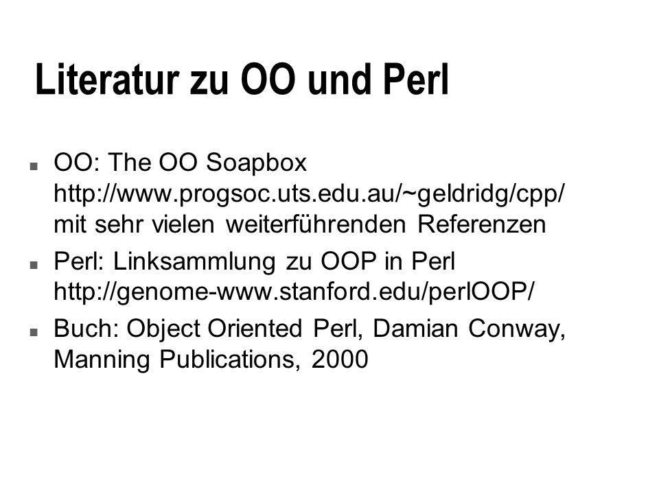 Literatur zu OO und Perl