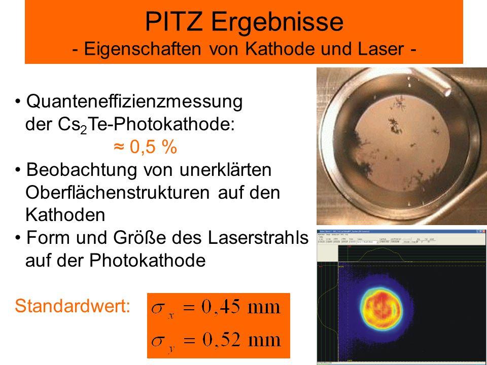 PITZ Ergebnisse - Eigenschaften von Kathode und Laser -