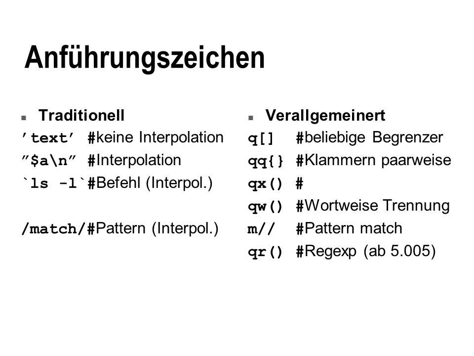 Anführungszeichen Traditionell 'text' #keine Interpolation
