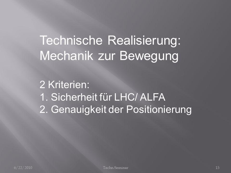Technische Realisierung: Mechanik zur Bewegung
