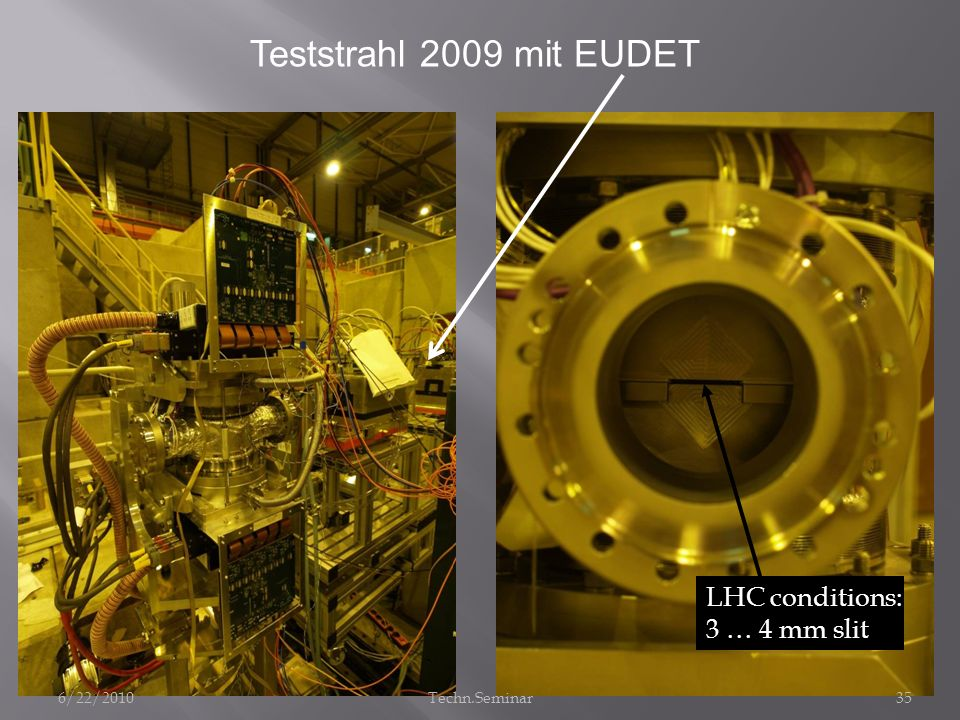 Teststrahl 2009 mit EUDET LHC conditions: 3 … 4 mm slit 6/22/2010