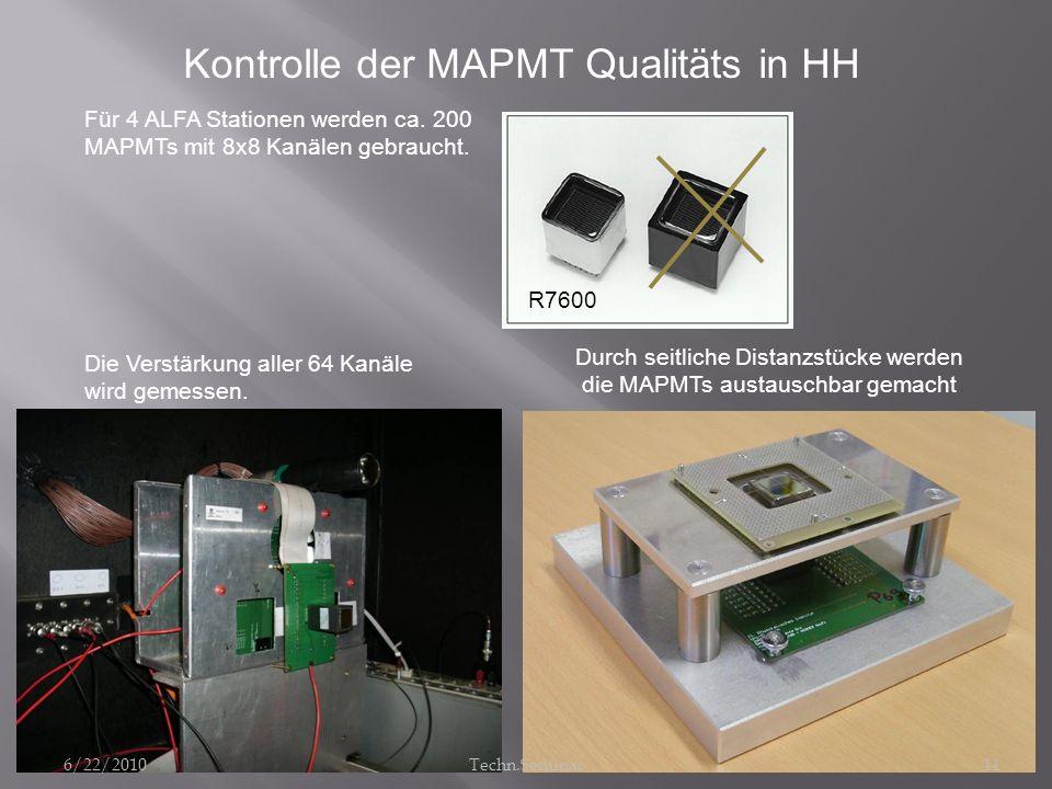 Kontrolle der MAPMT Qualitäts in HH