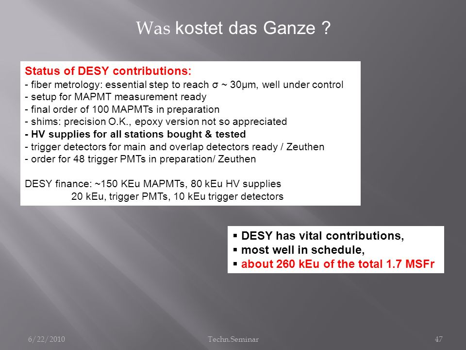 Was kostet das Ganze Status of DESY contributions: