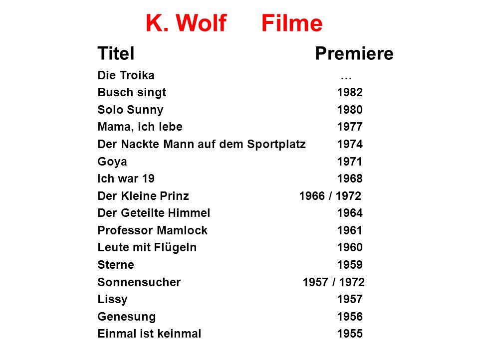 K. Wolf Filme Titel Premiere Die Troika … Busch singt 1982