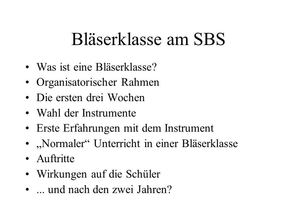 Bläserklasse am SBS Was ist eine Bläserklasse
