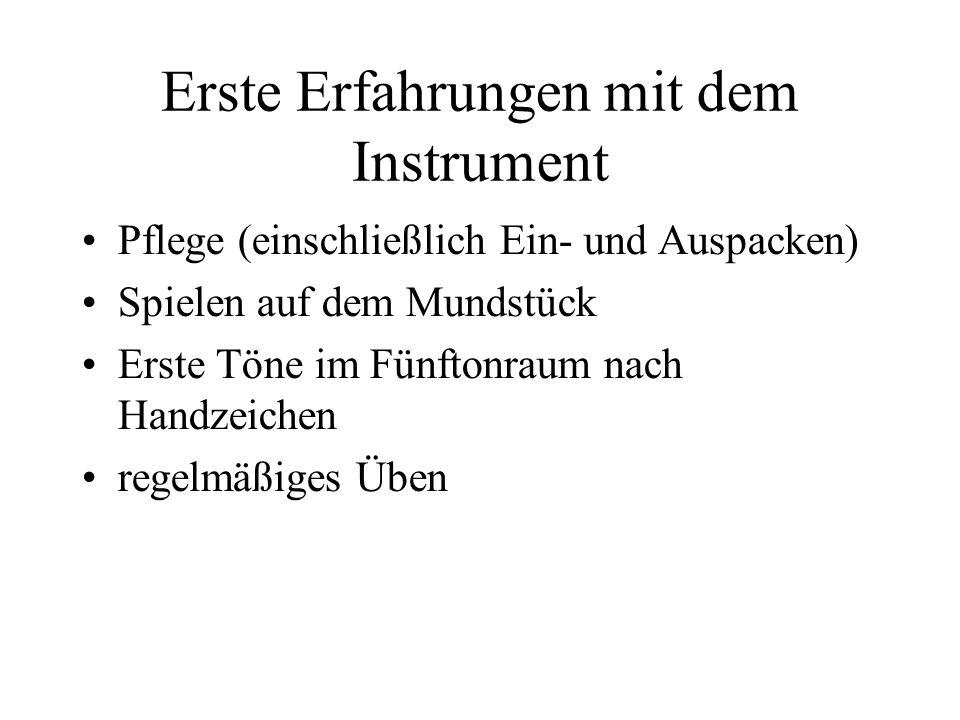 Erste Erfahrungen mit dem Instrument