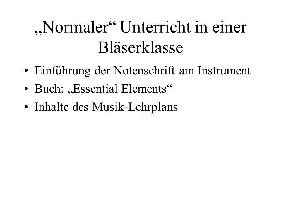"""""""Normaler Unterricht in einer Bläserklasse"""