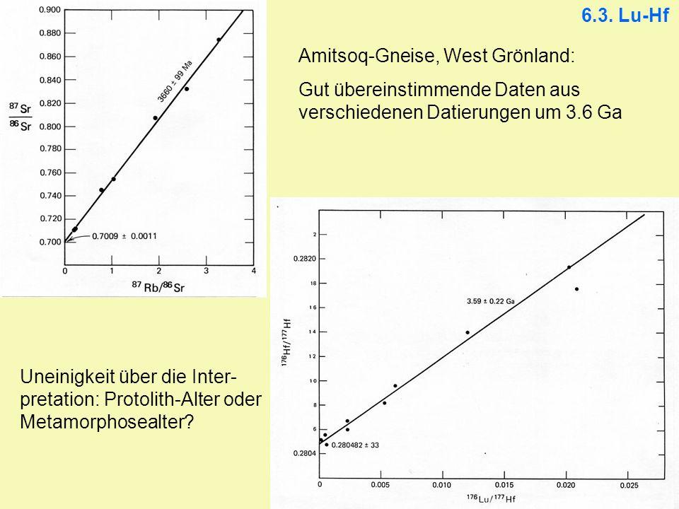 6.3. Lu-Hf Amitsoq-Gneise, West Grönland: Gut übereinstimmende Daten aus verschiedenen Datierungen um 3.6 Ga.