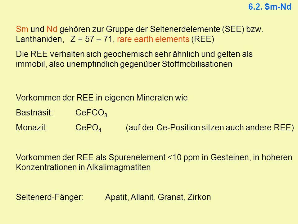 6.2. Sm-Nd Sm und Nd gehören zur Gruppe der Seltenerdelemente (SEE) bzw. Lanthaniden, Z = 57 – 71, rare earth elements (REE)