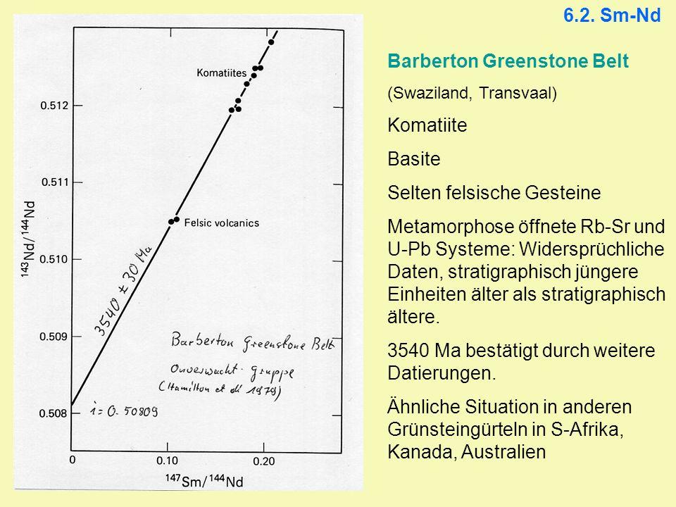 Barberton Greenstone Belt Komatiite Basite Selten felsische Gesteine