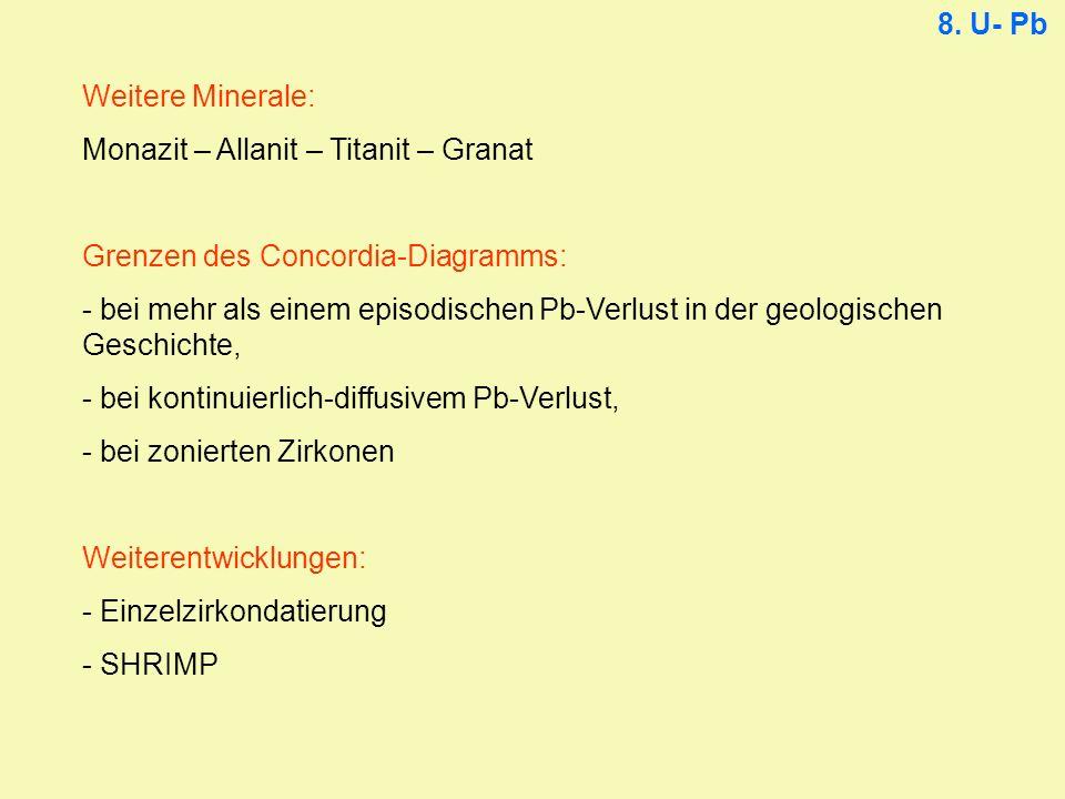 8. U- Pb Weitere Minerale: Monazit – Allanit – Titanit – Granat. Grenzen des Concordia-Diagramms: