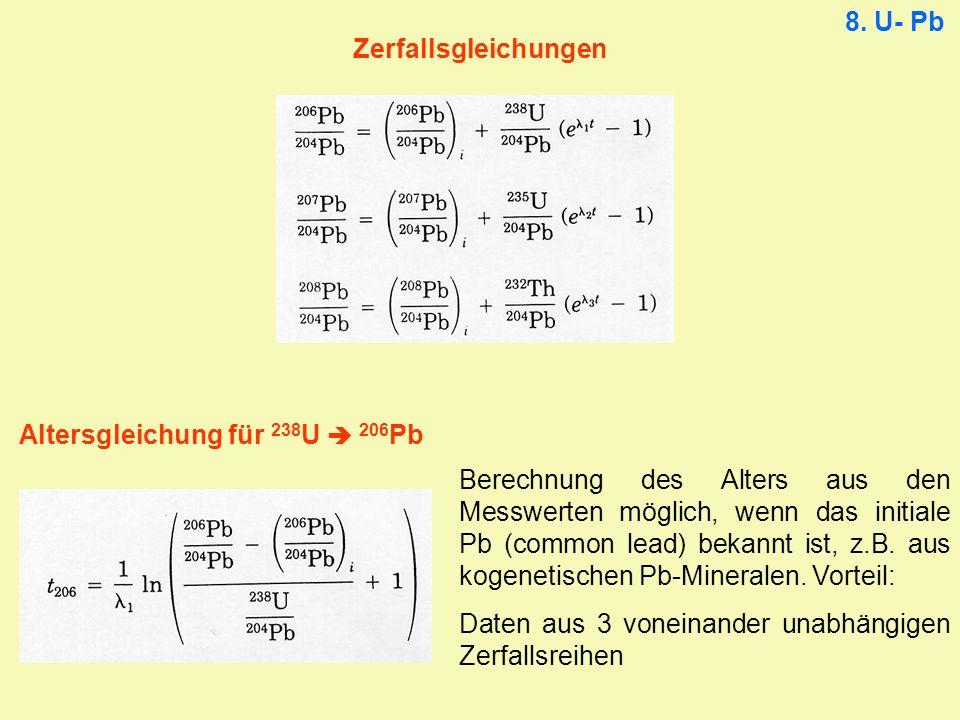 Altersgleichung für 238U  206Pb